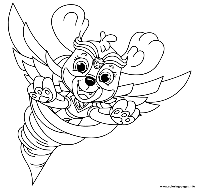 mighty pups flying skye for kids coloring pages printable