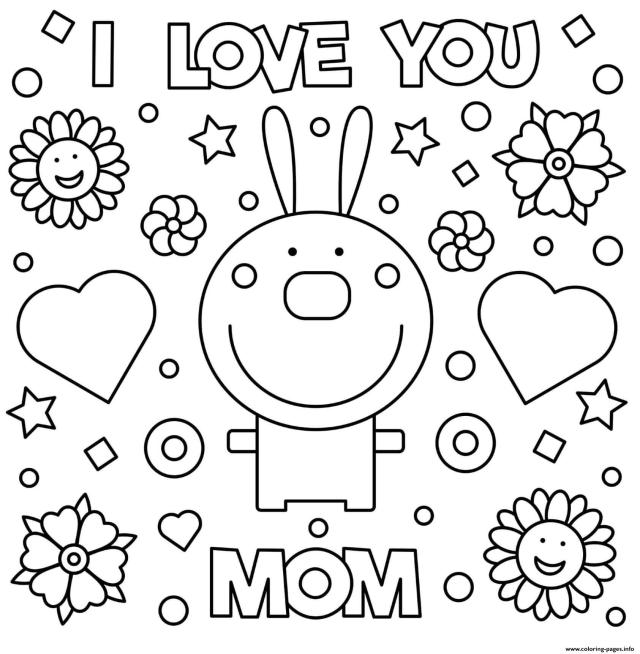 Mothers Day Rabbit I Love You Mom Coloring Pages Printable