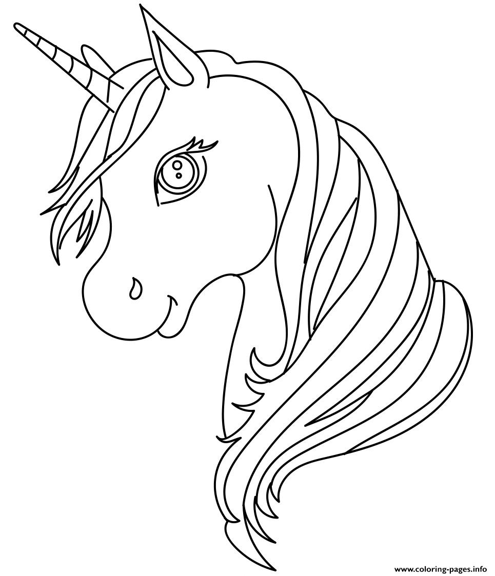 Unicorn Head Cute Simple Coloring Pages Printable