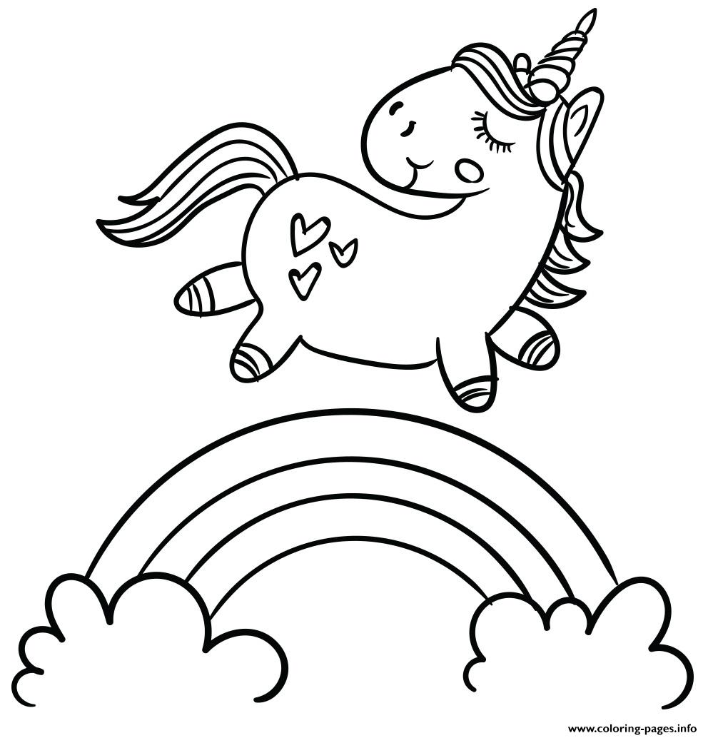 Magic Cute Unicorn Walking On Rainbow A4 Coloring Pages Printable
