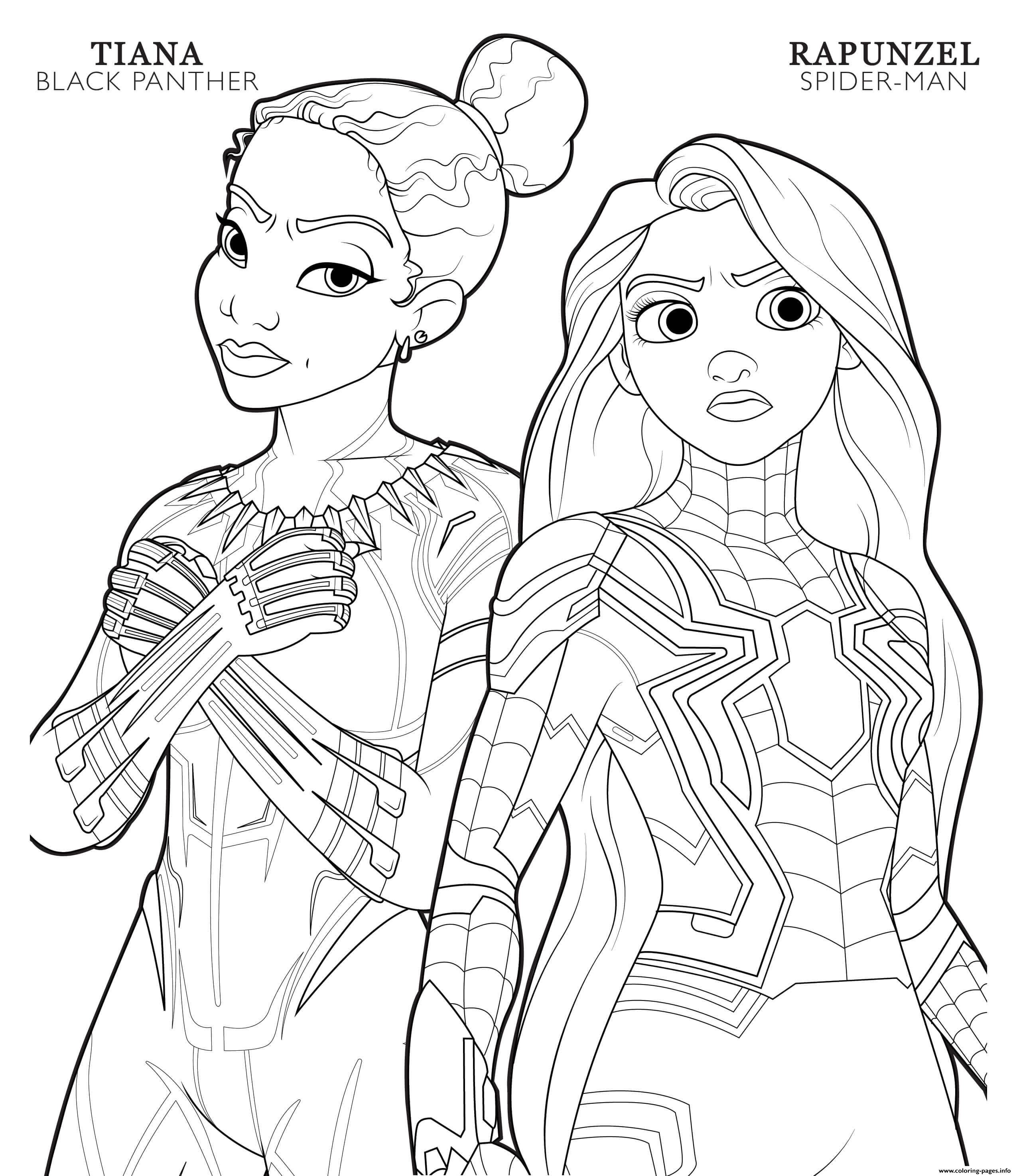 Black Panther Tiana And Spider Man Rapunzel Disney Avengers Coloring Pages Printable