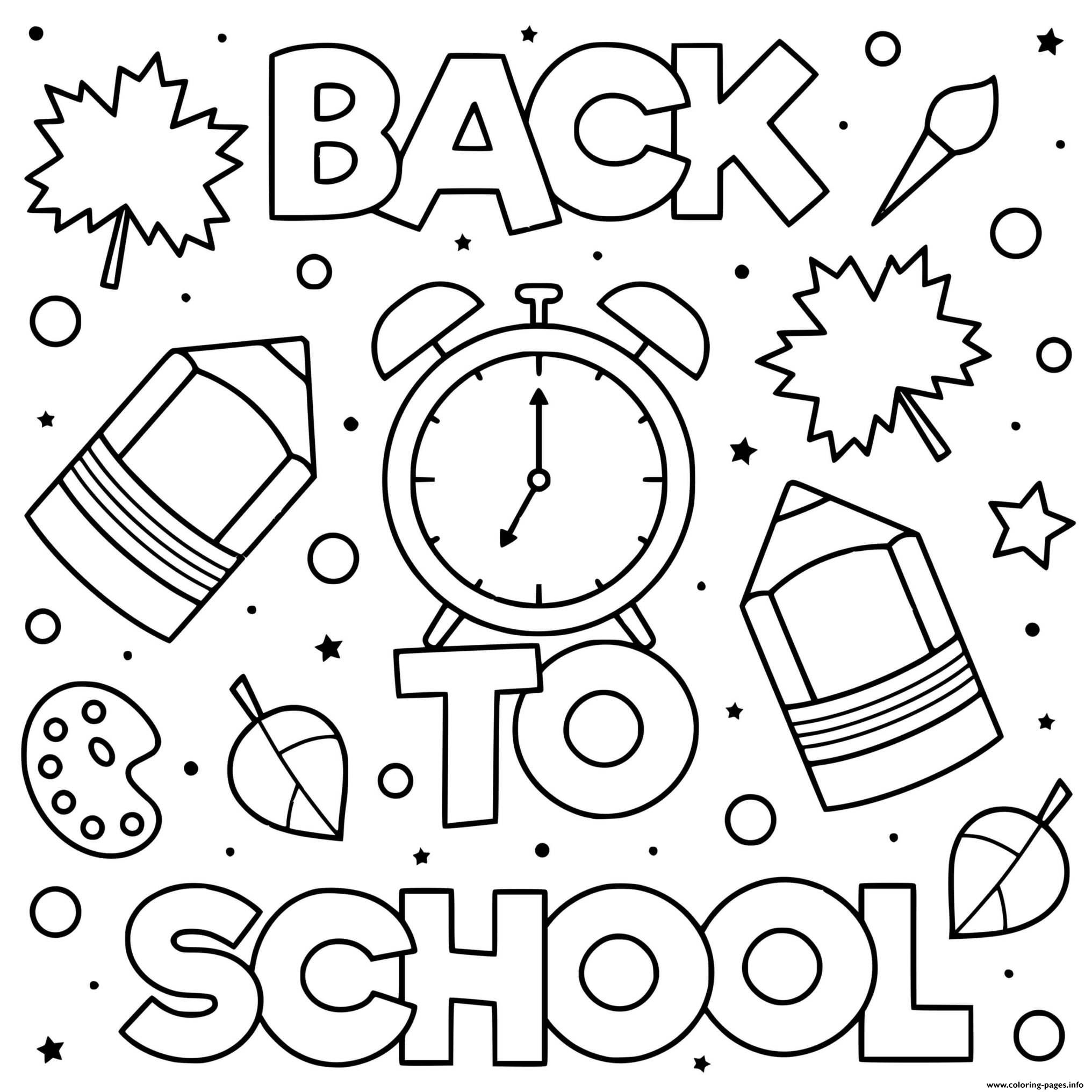 Back To School Doodle Pencil Paint Clock Coloring Pages