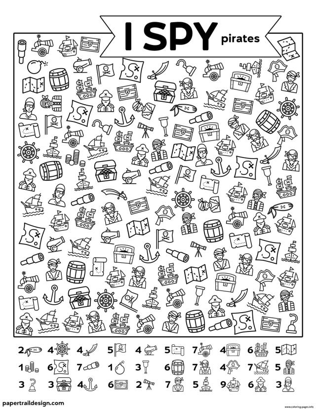 I Spy Pirates Coloring Pages Printable