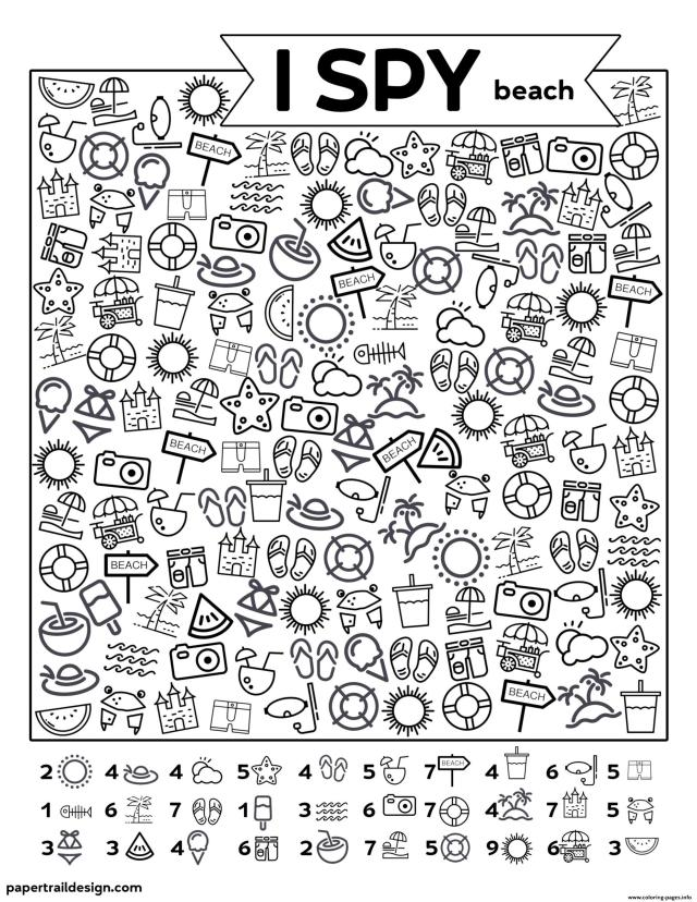 I Spy Beach Coloring Pages Printable