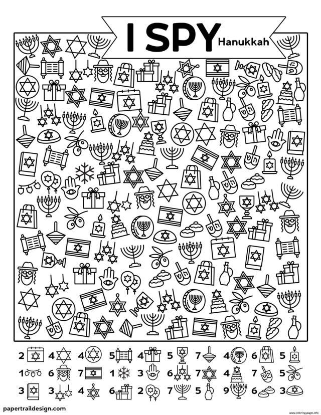I Spy Hanukkah Coloring Pages Printable