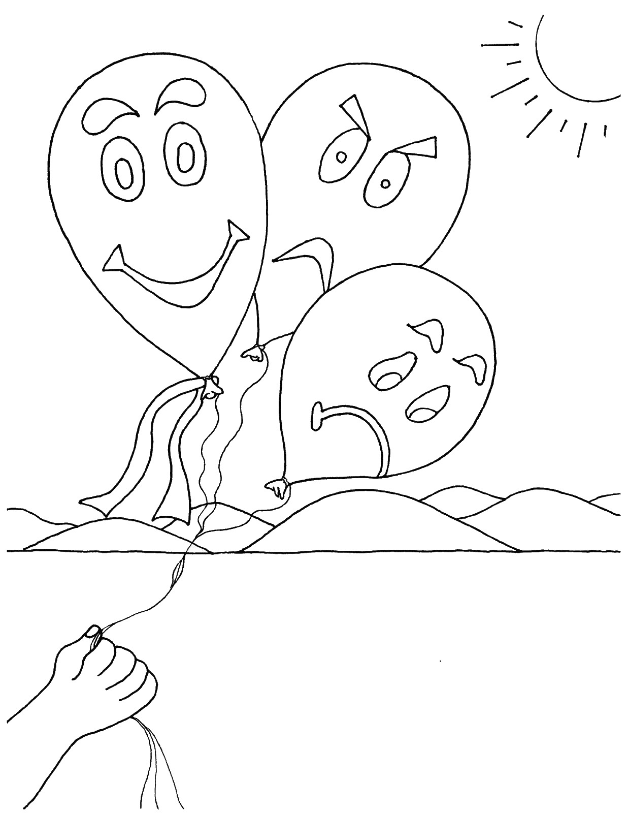 Feelings And Emotions Worksheets Sketch Coloring Page