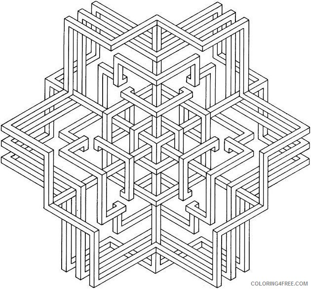 3d Geometric Coloring Pages Printable Coloring4free Coloring4free Com