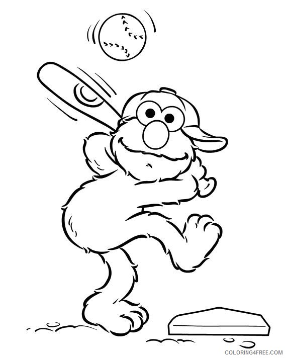 Baseball Coloring Pages Elmo Batting Coloring4free Coloring4free Com