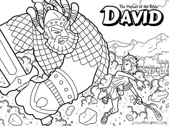 David And Goliath Bible Coloring Pages Coloring4free Coloring4free Com