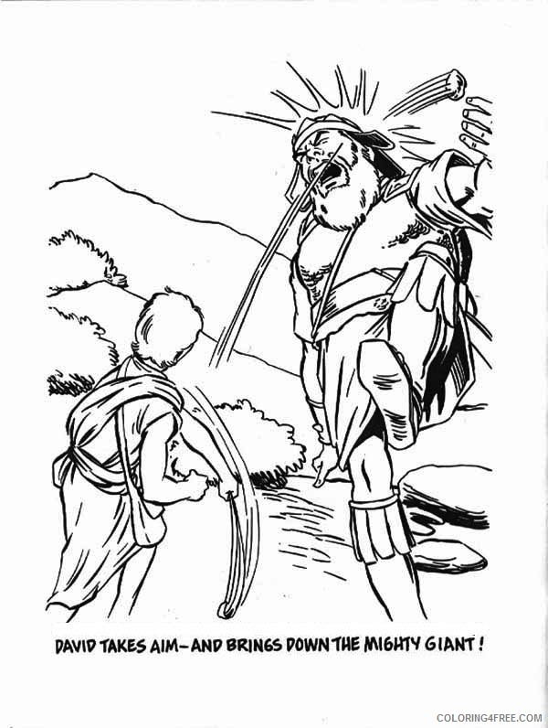 David And Goliath Coloring Pages Bible Story Coloring4free Coloring4free Com