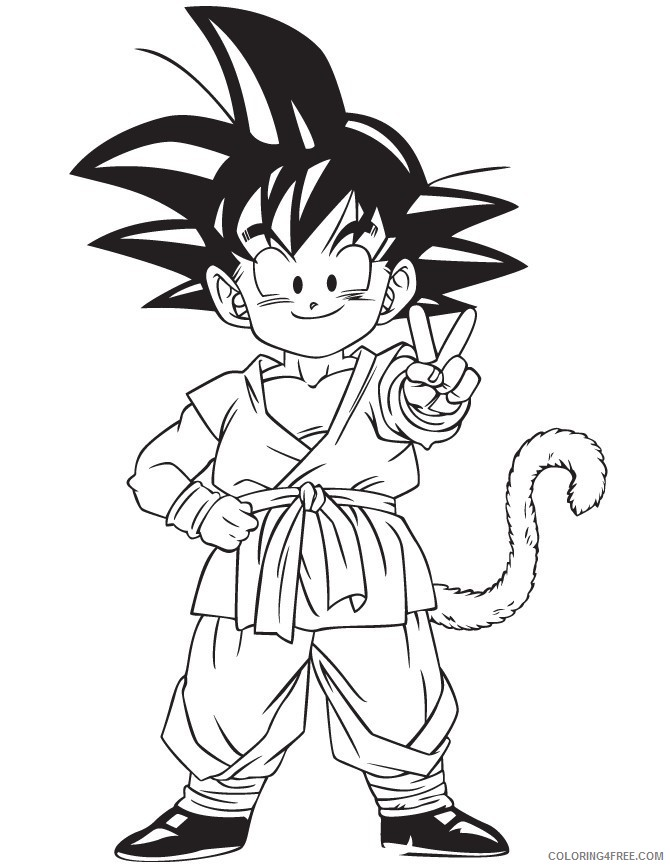Dragon Ball Z Coloring Pages Goku Kid Coloring4free Coloring4free Com