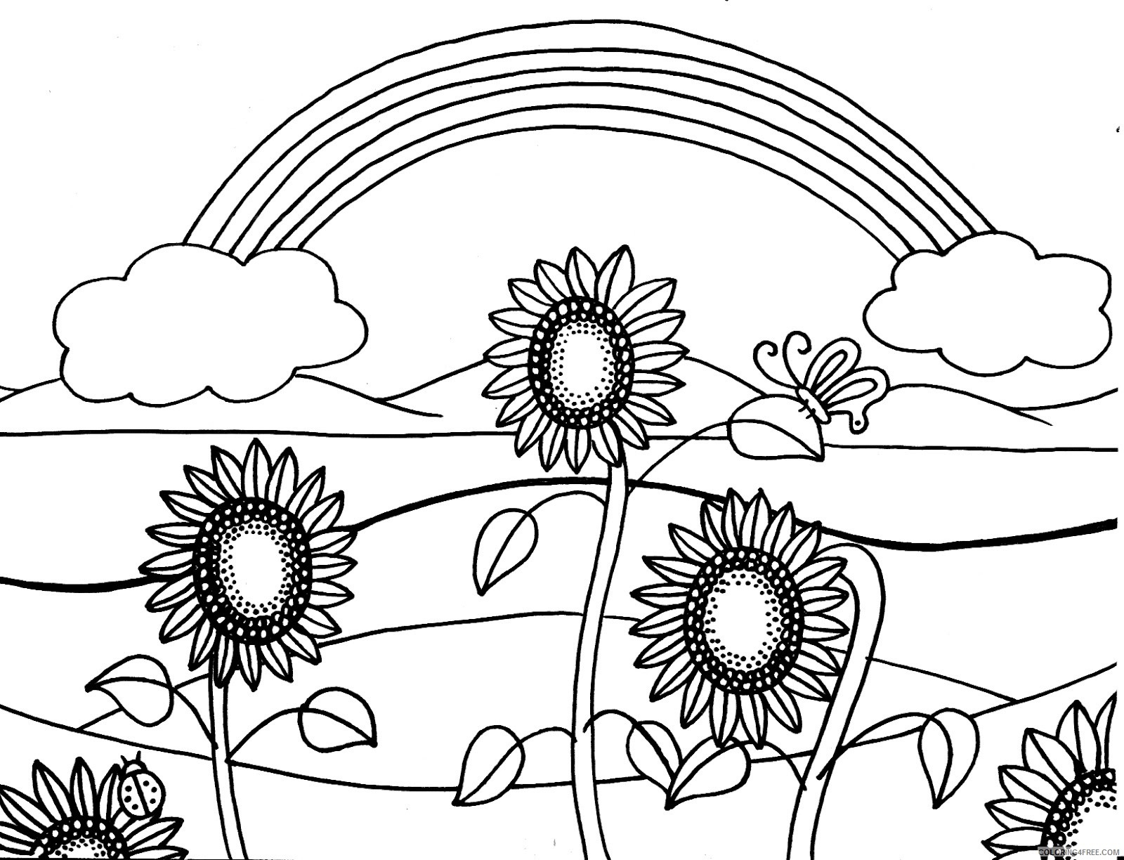 Sunflower Coloring Pages With Rainbow Coloring4free Coloring4free Com