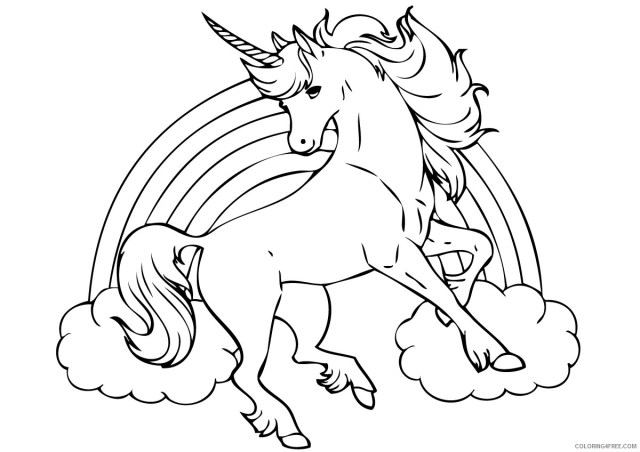unicorn coloring pages with rainbow Coloring25free - Coloring25Free.com