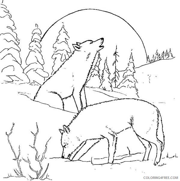 Wolf Coloring Pages Howling At Moon Coloring4free Coloring4free Com