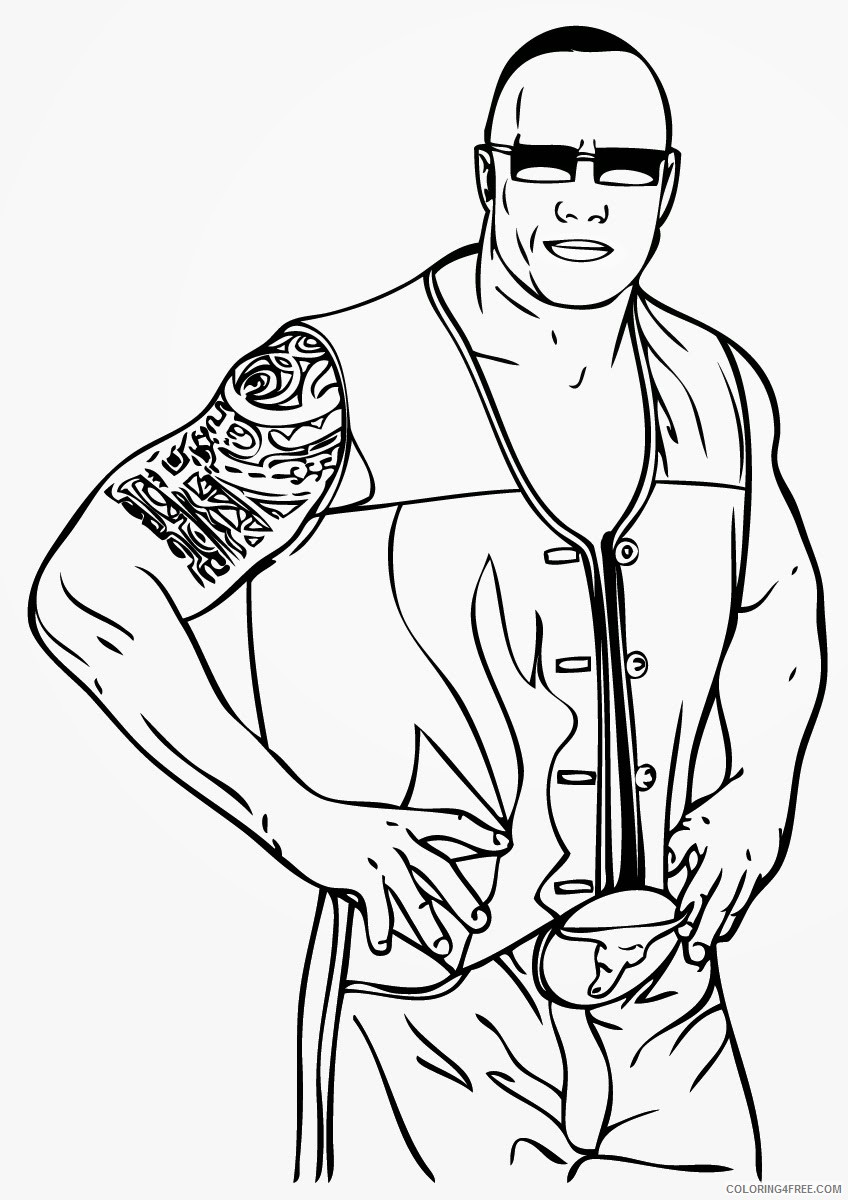 Wwe Coloring Pages The Rock Coloring4free Coloring4free