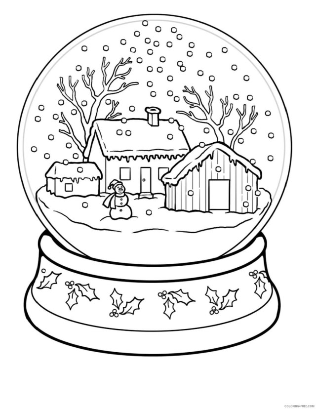 Winter Coloring Pages Nature Winter Scene Snowglobe Printable 23