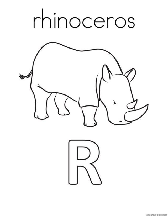 Rhino Coloring Pages Animal Printable Sheets Rhinoceros 19 19
