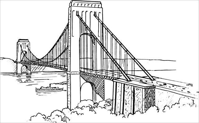 Suspension Bridge Coloring Pages - ColoringBay