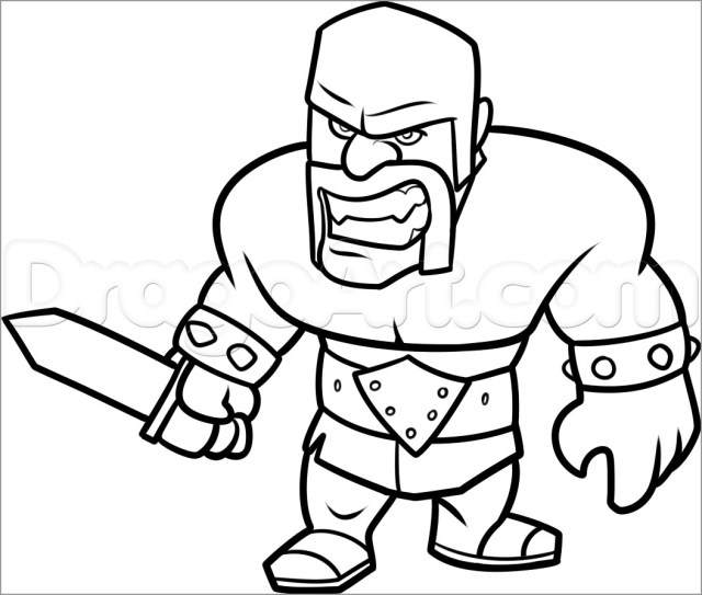 Clash Of Clans Barbarian Coloring Pages - ColoringBay
