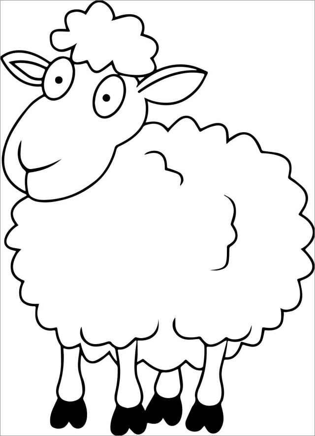 Funny Sheep Coloring Page for Kids - ColoringBay