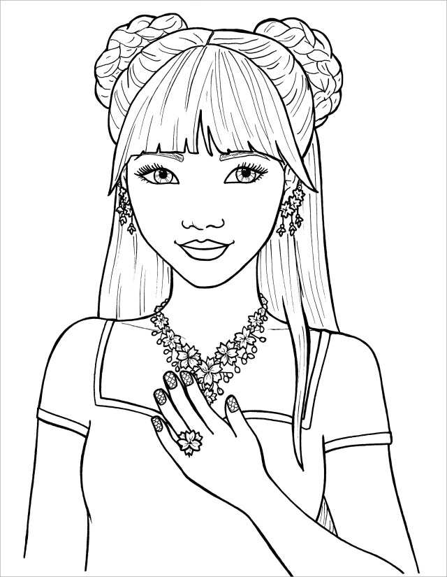 Girl Hair Coloring Pages - ColoringBay