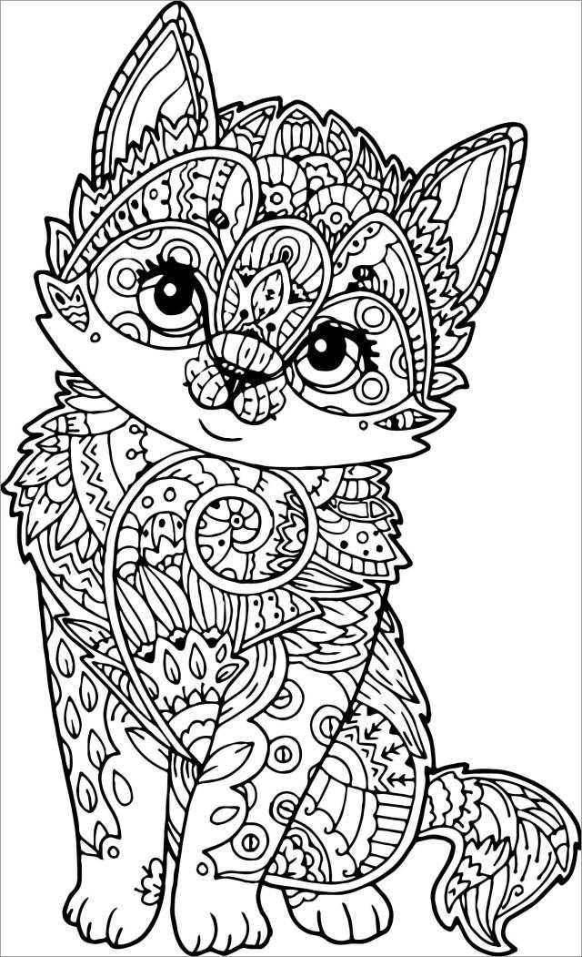 Mandala Kitten Coloring Page - ColoringBay