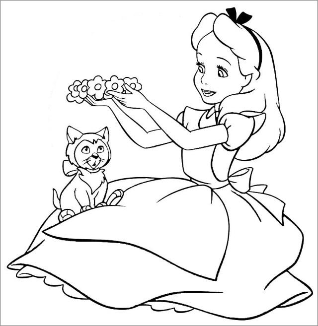 Printable Alice In Wonderland Coloring Page - ColoringBay