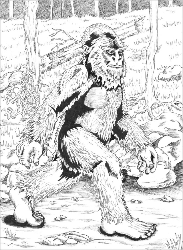 Realistic Bigfoot Coloring Page for Adult - ColoringBay