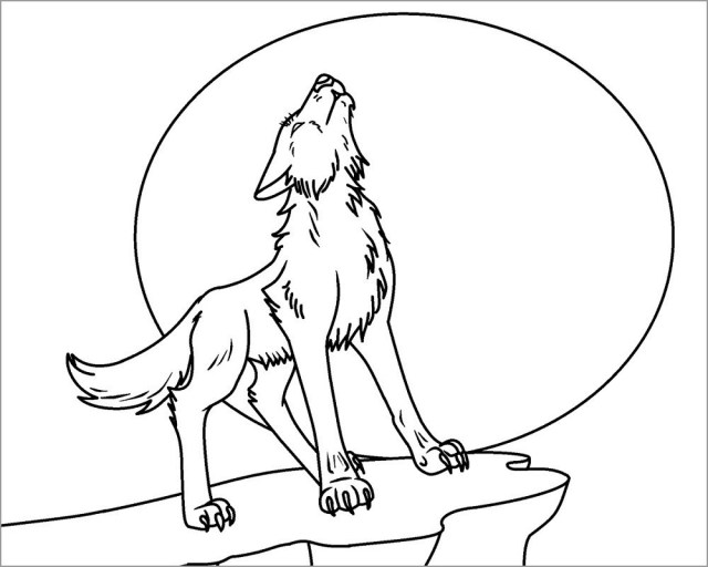 Wolf Howling at Moon Coloring Page - ColoringBay
