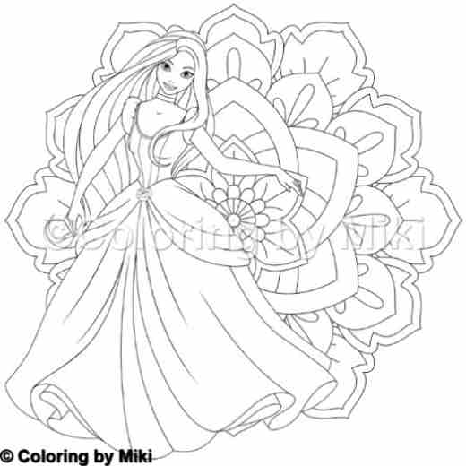 Mandala And Princess Coloring Page 273