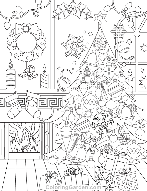 Christmas Adult Coloring Page | christmas coloring sheets for adults