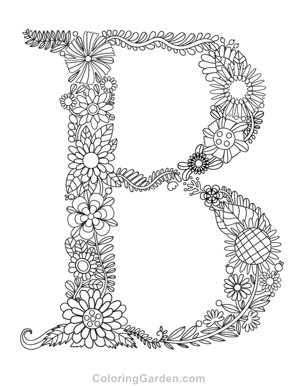 "floral letter ""b"" adult coloring page"
