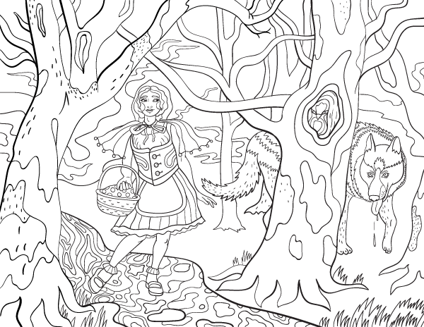 little red riding hood adult coloring page