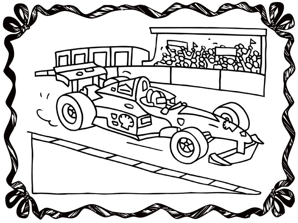 Race Car And Race Track Coloring Pages