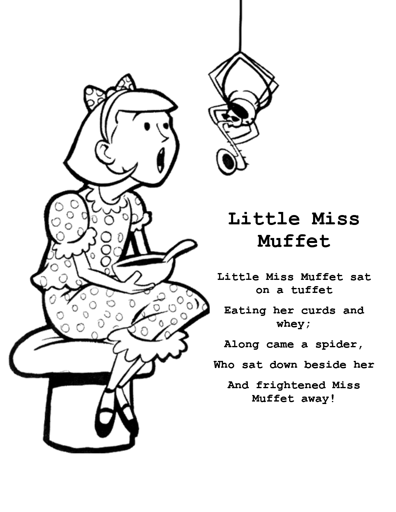 Printable Little Miss Muffet Nursery Rhyme