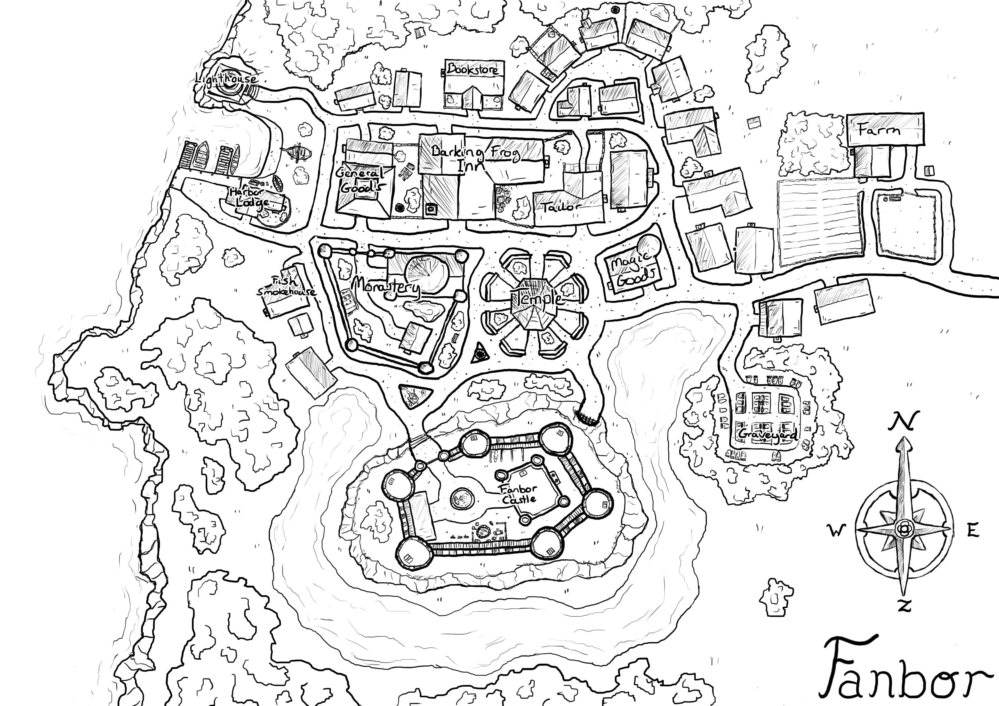 Neighborhood Map Coloring Page