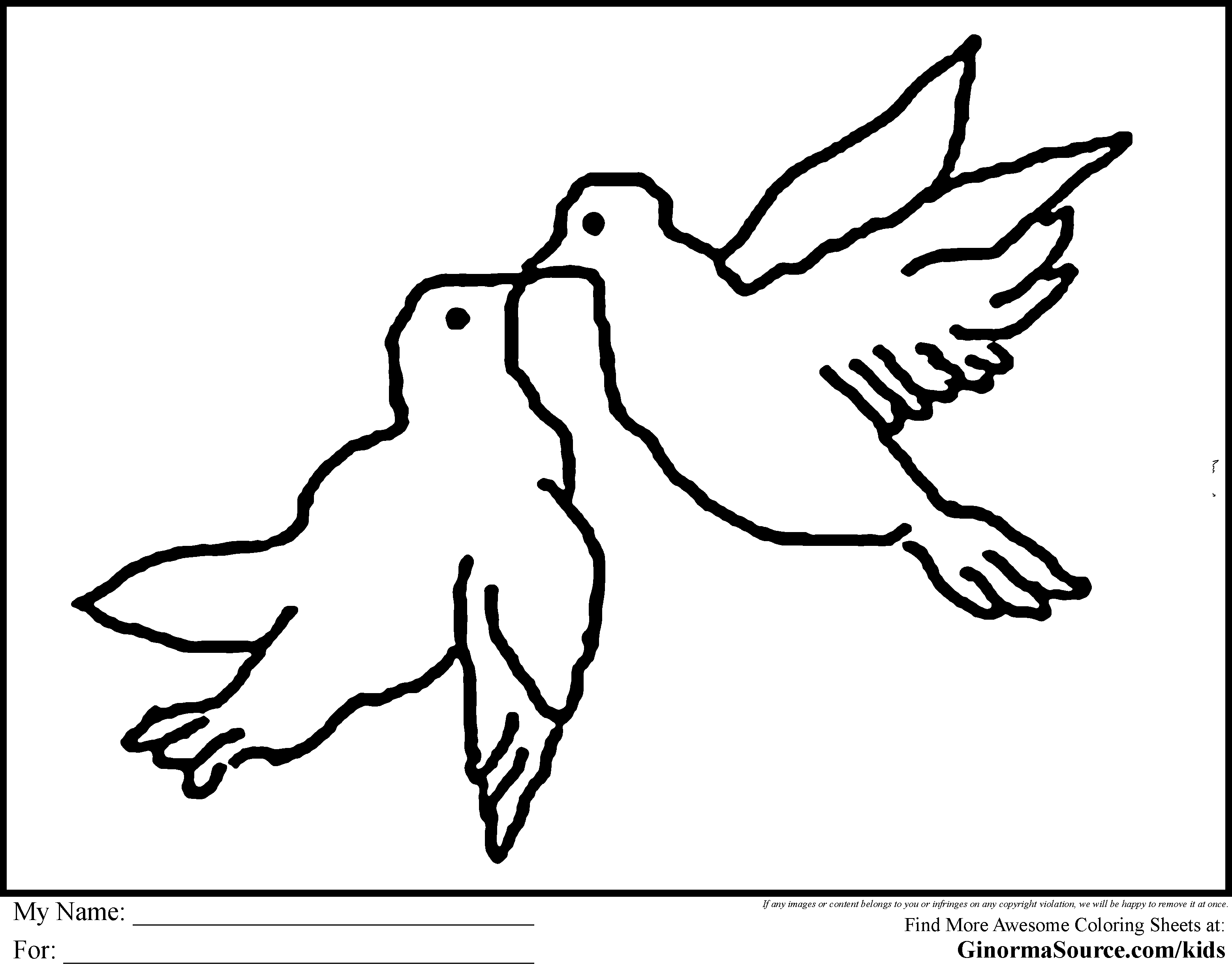 Turtle Doves Coloring Pages