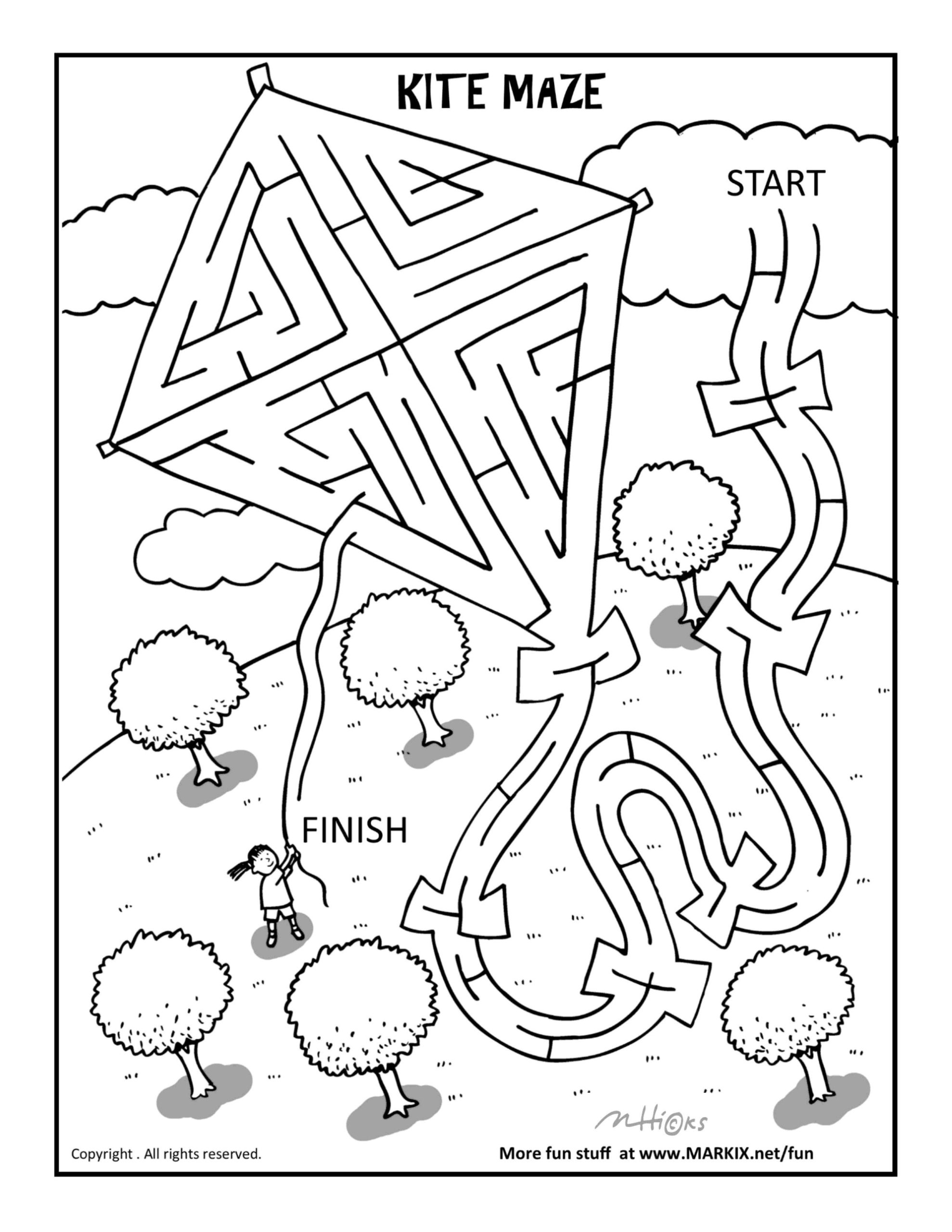 Kite Maze And Coloring Mazes For Kids Abcteach Christmas