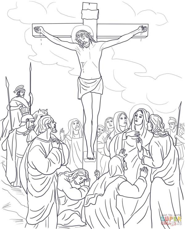 jesus on the cross coloring page # 19