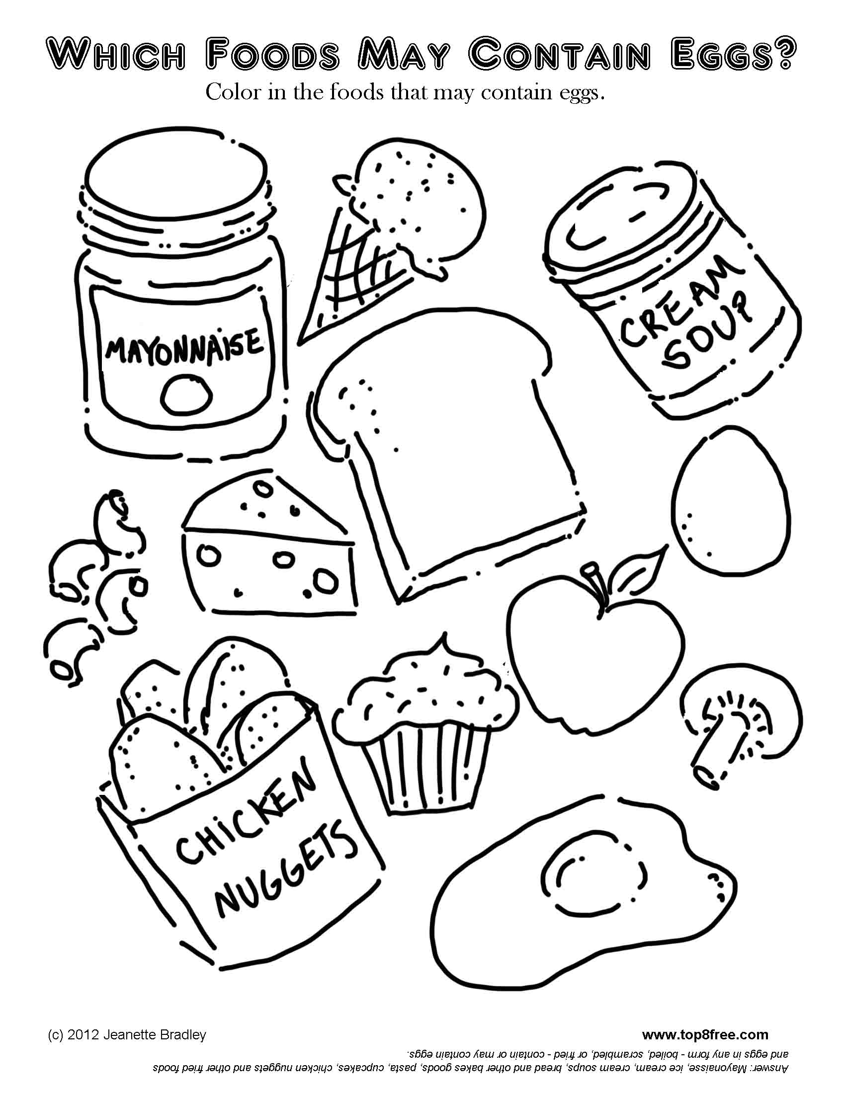 Cute Foods Coloring Pages Free