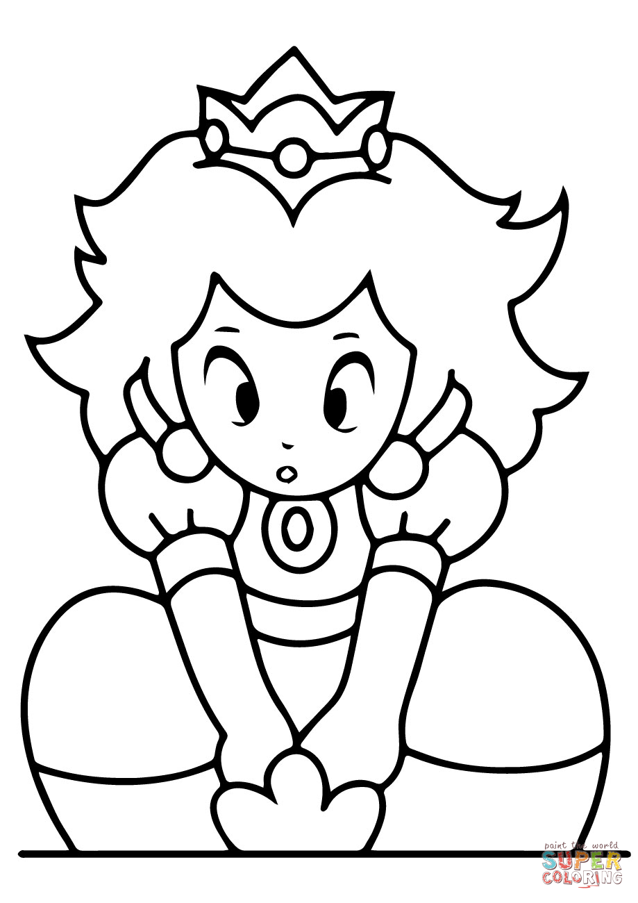 Kawaii Princess Peach Coloring Page Free Printable Coloring