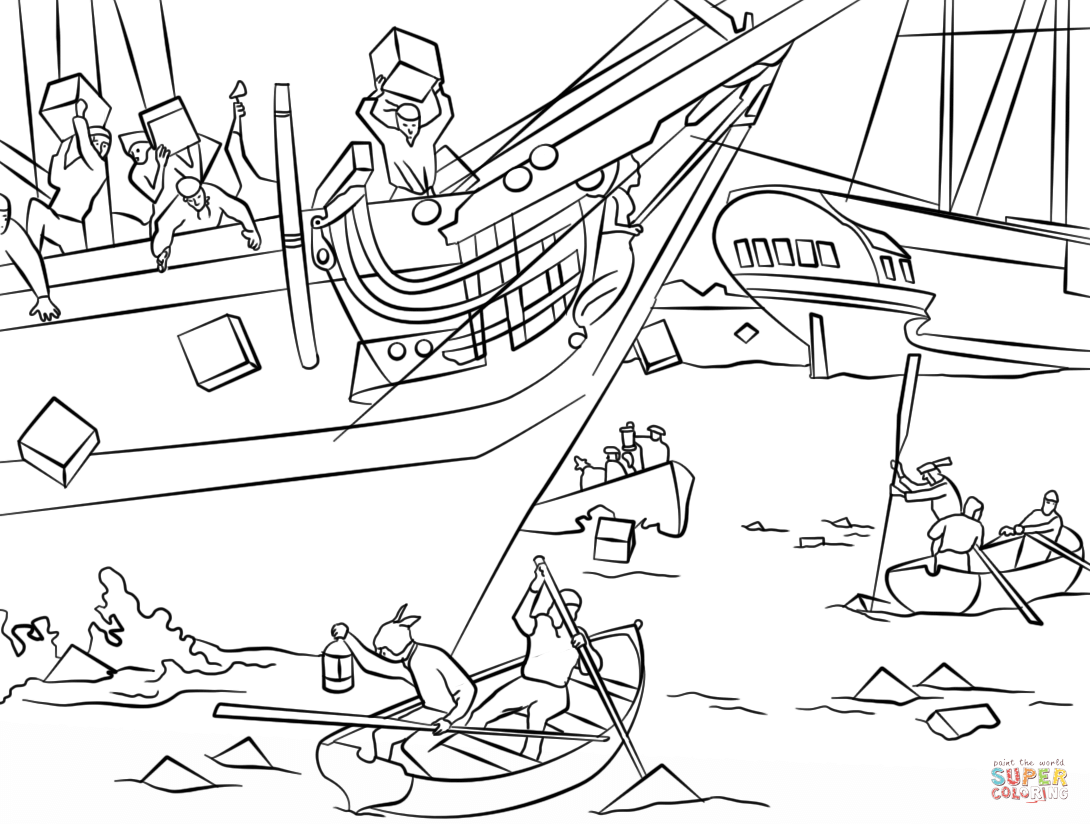 Boston Tea Party Coloring Page