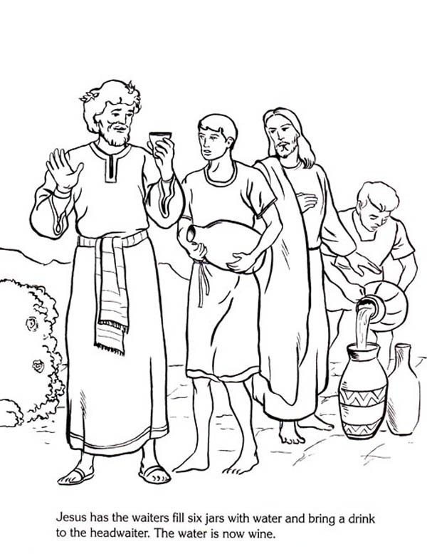Jesus Turn Six Jars Of Water Into Wine In Miracles Of Jesus Coloring Page Coloring Home
