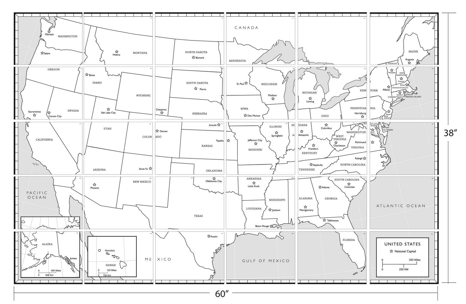 Coloring Page United States Map