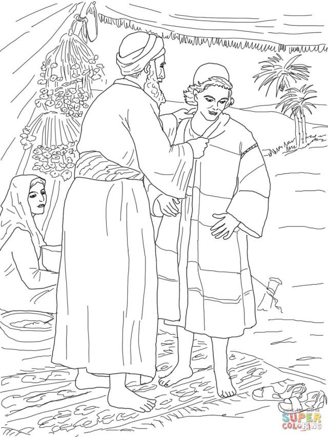 Jacob Giving Joseph The Coat Of Many Colors Coloring Page  Free