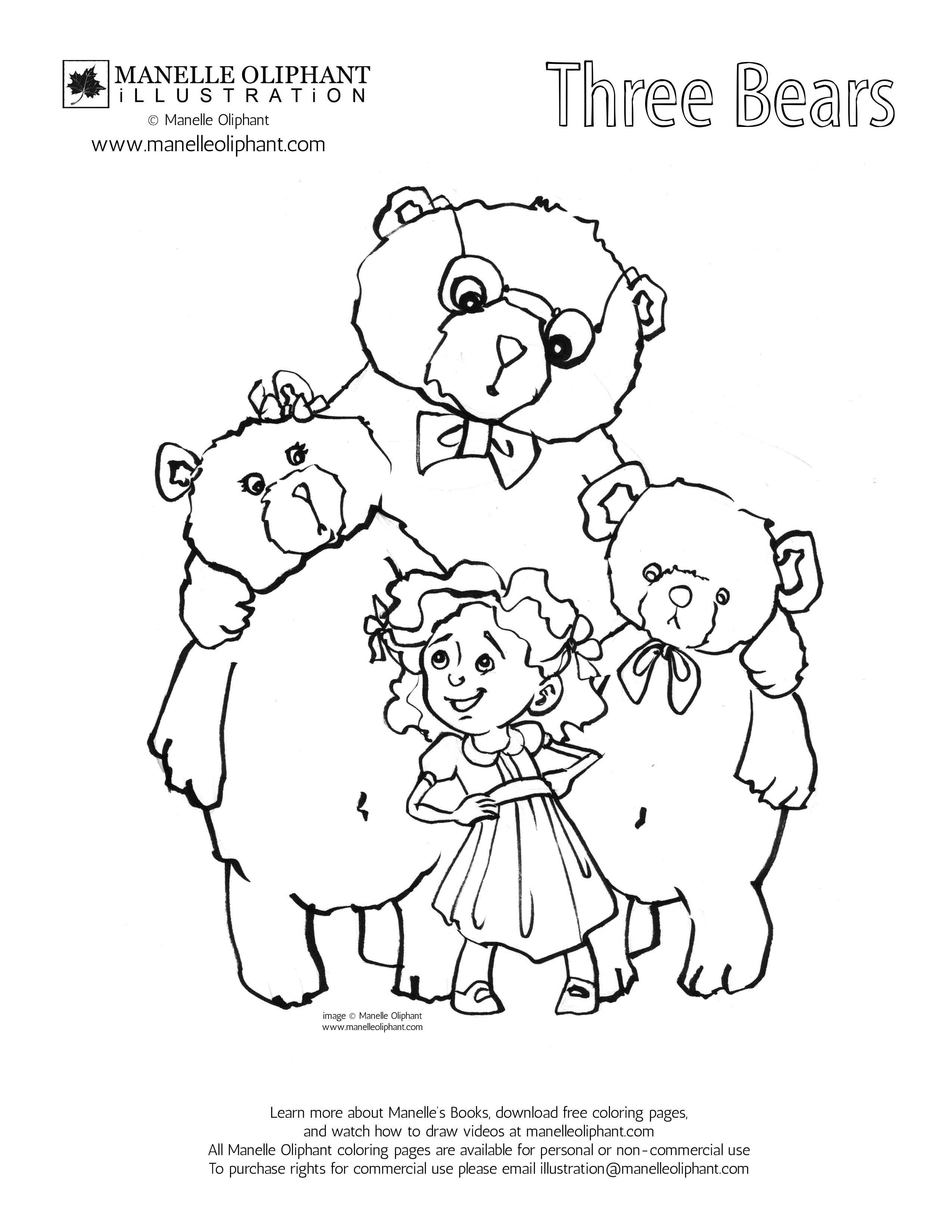 Three Little Bears Coloring Pages Free Download