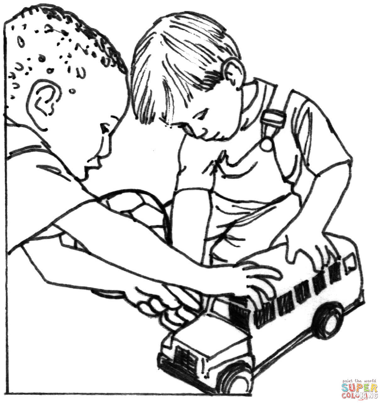 Kids Sharing Coloring Page