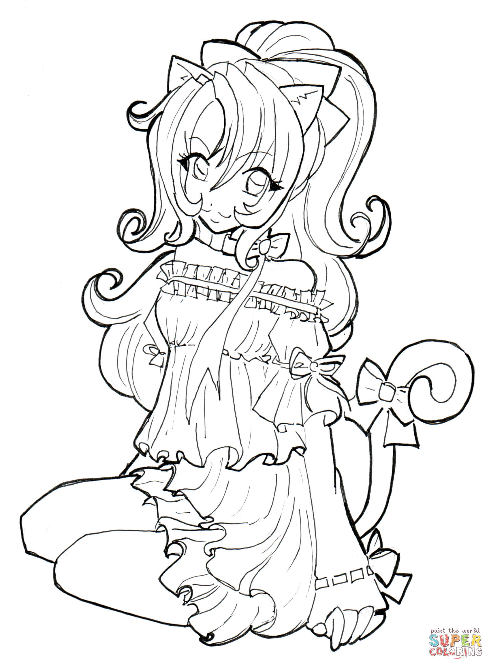 Anime Fox Girl Cute Coloring Pages