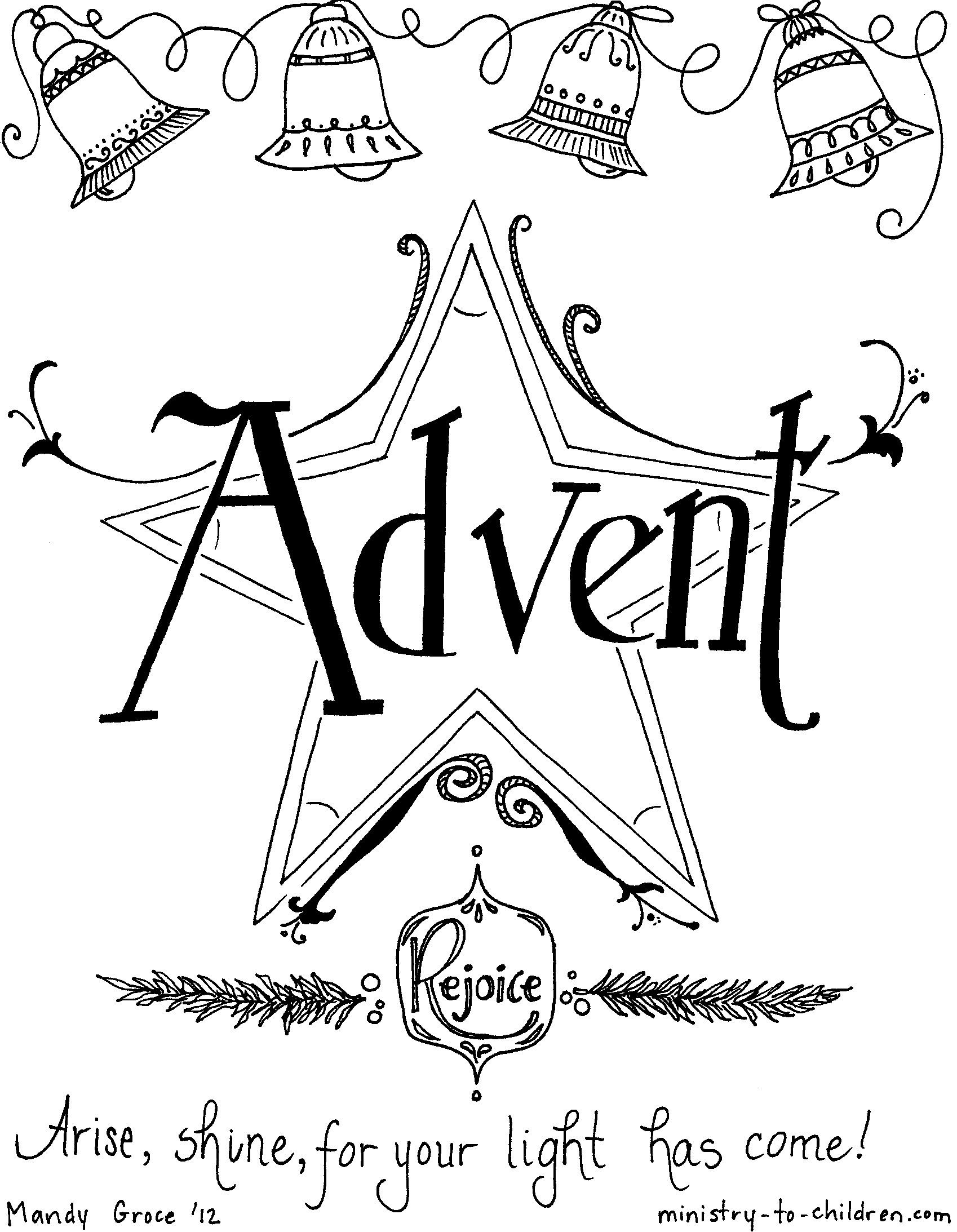 Advent Coloring Page Christmas Kindergarten Worksheets