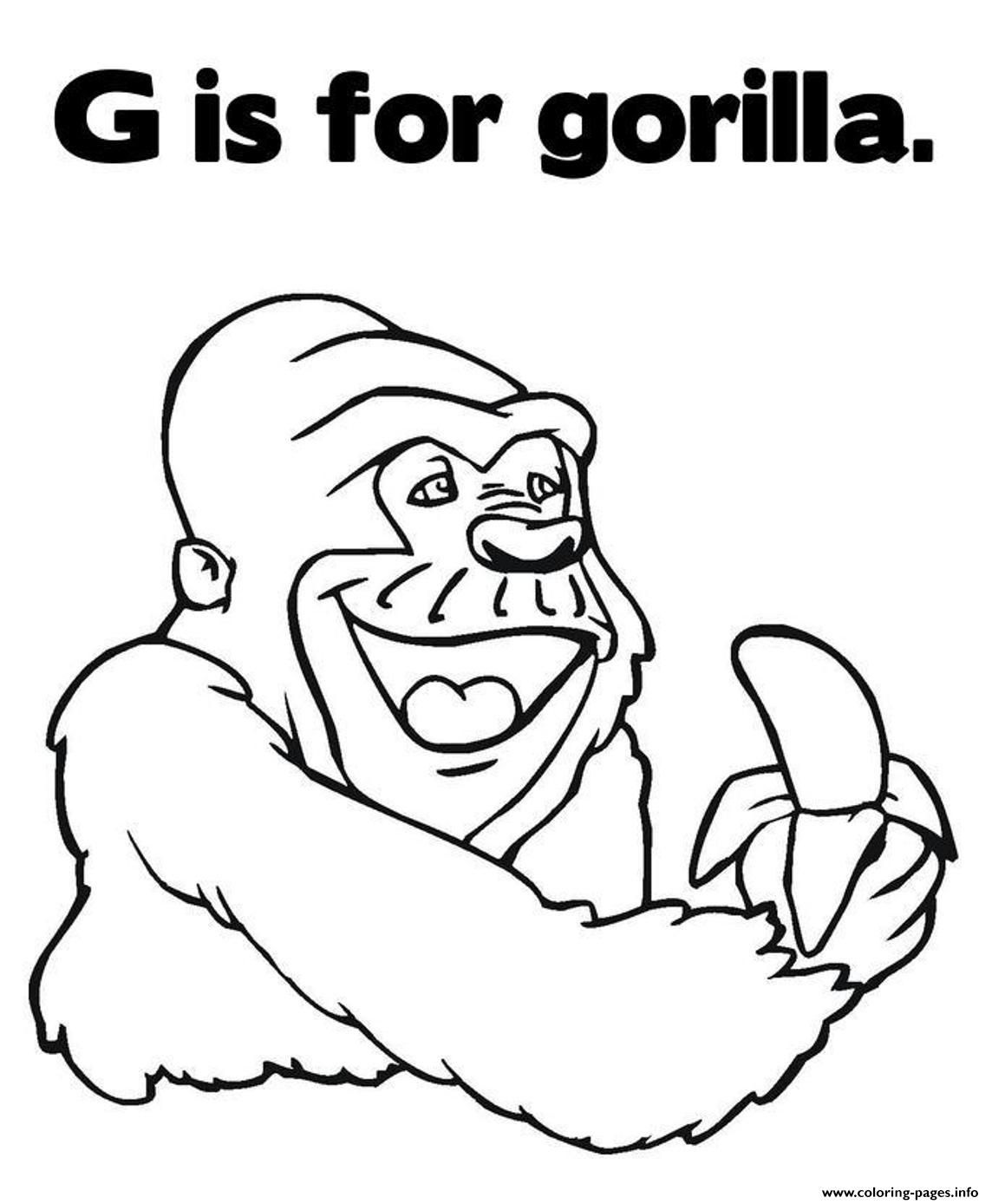 Print Coloring Pages Alphabet G Is For Gorilla Animal67ce